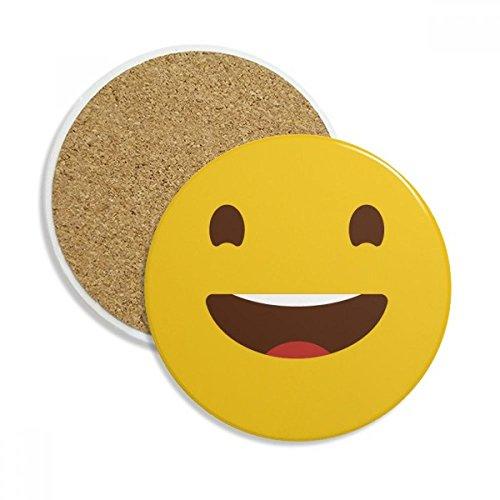 Happy Laugh Yellow Cute Online Emoji Stone Drink Ceramics Coasters for Mug Cup Gift 2pcs