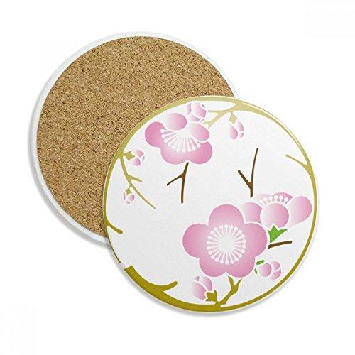 Japan Culture Cute Pink Sakura Stone Drink Ceramics Coasters for Mug Cup Gift 2pcs