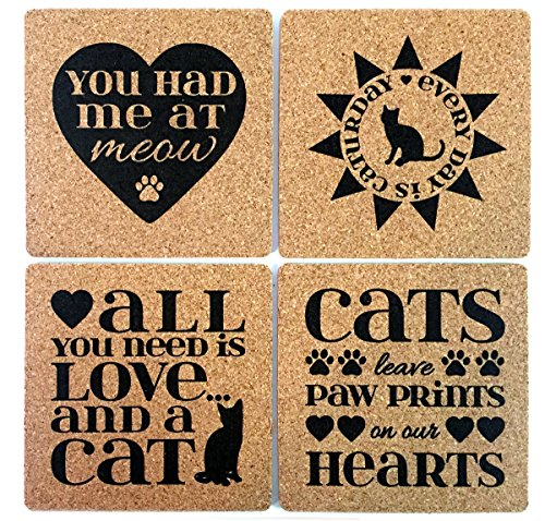 Cat Lover Gift Cork Coaster Set by Yay Delicious - You Had Me At Meow All You Need Is Love and a Cat Every Day Is Caturday Cats Leave Paw Prints On Our Hearts