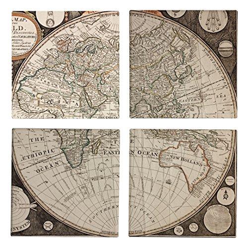 Vintage Map Ceramic Coaster - Absorbent Coaster For Wine Glasses Drinks and Beverages - House Warming Gift - Coaster Set Of 4 Vintage Map