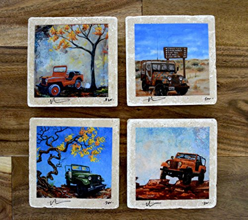 Fine Art Coasters set of 4 Jeeps drink coaster travertine stone jeep willys CJ distressed car truck fathers day gift man men present
