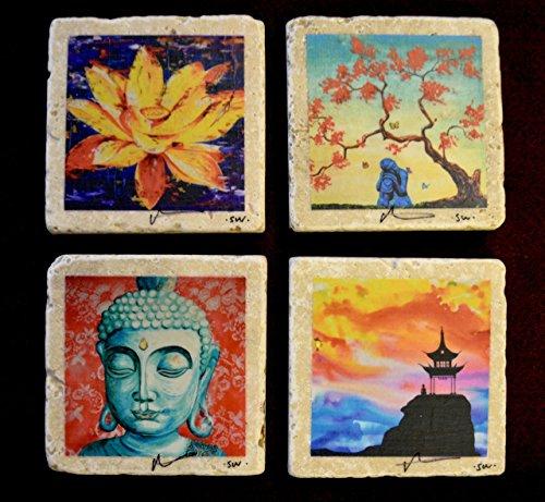 Fine Art Coasters set of 4 zen drink coaster travertine stone buddha asian distressed art bar gift lotus flower pagoda hand made in Utah artist signed