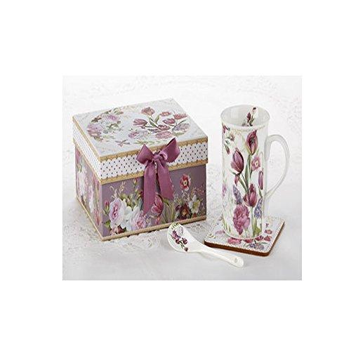 49Mug-Coaster-Spoon Set in Gift Box Tulip