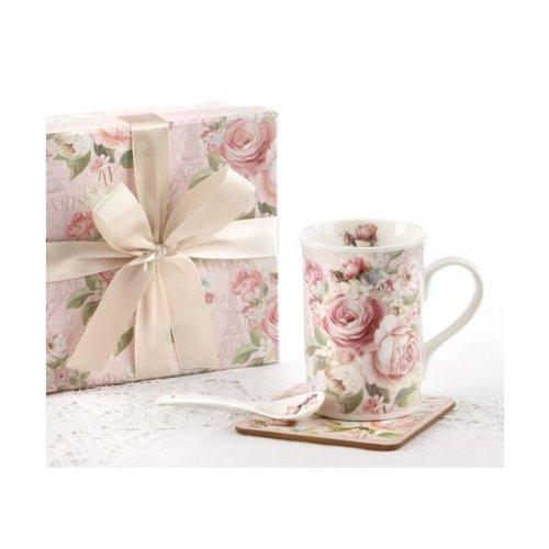 Delton - Coffee  Tea Mug Coaster Spoon Gift Set - Rose