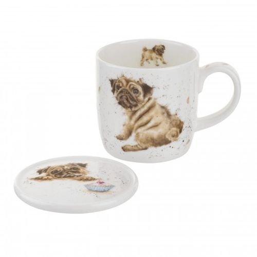 Royal Worcester Wrendale Designs Pug Love Mug Coaster Set