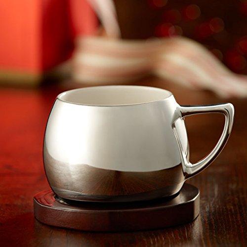 Starbucks Silver Mug with Coaster 14 Fl Oz