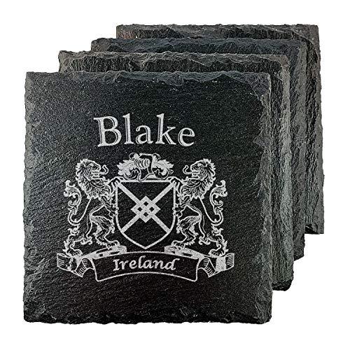 Blake Irish Coat of Arms Slate Coasters - Set of 4