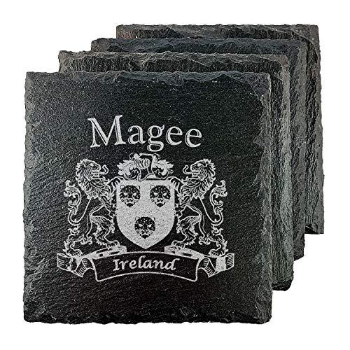 Magee Irish Coat of Arms Slate Coasters - Set of 4