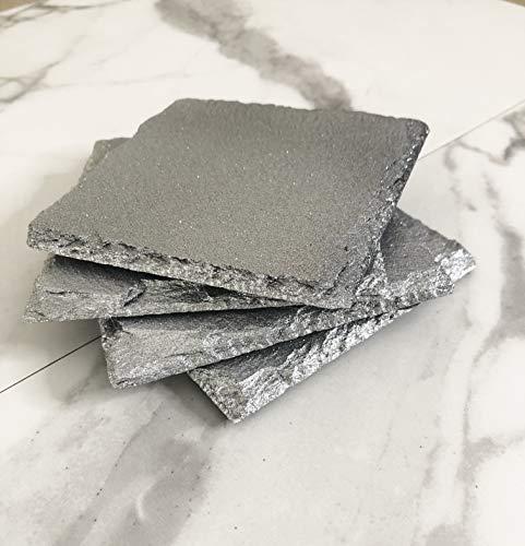 Silver Glitter Square Slate Coasters Set Of 4