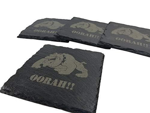 USMC Bulldog Oorah Slate Coaster Set - Marine Corps Slate Coasters