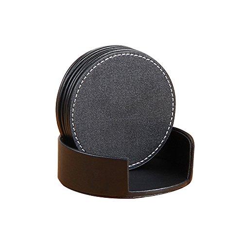 YAPISHI Drink Coasters Set  Faux Leather Coasters Set Table Decorative for 6 with Holder BlackRound