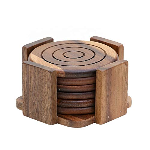 6 Piece Acacia Wood Coaster Set - Rustic Coasters for Drinks - Drink Coaster Set - Coasters With Holder - Width 5 x Height 3
