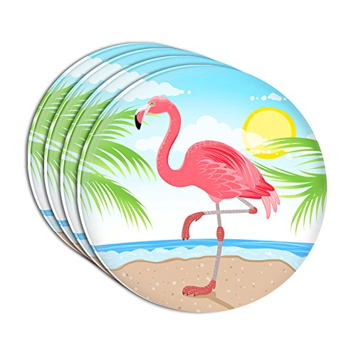 Flamingo and Palm Tree Beach Vacation Acrylic Coaster Set of 4