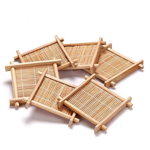 """MyLifeUNIT Bamboo drink Coaster tea mat 35"""" X 35"""" 6pcsset"""