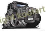 Koolart - Twisted Land Rover Defender - Black - Quality Square Wooden Coaster - 3165