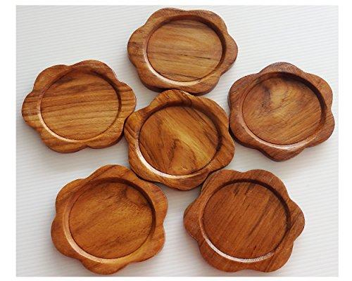 2 Set Set of 6 Amatahouse Handmade Teak Wood Coasters for Drink Saucer Set Home Decor Indoor Outdoor Flower Shape