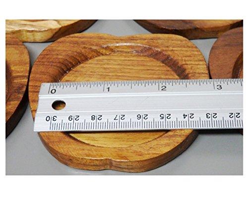 2 Set Set of 6 Amatahouse Handmade Teak Wood Coasters for Drink Saucer Set Indoor Outdoor Apple Shape