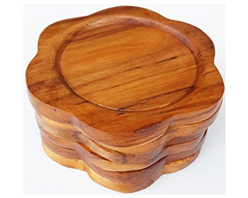 2 Set Set of 6 Amatahouse Handmade Teak Wood Coasters for Drink Saucer Set Indoor Outdoor Flower Shape