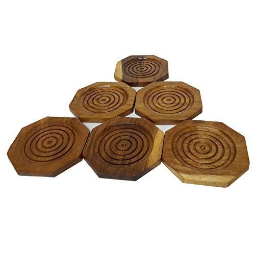 2 Set Set of 6 Amatahouse Handmade Teak Wood Coasters for Drink Saucer Set Octagon Indoor Outdoor