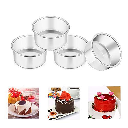 TeamFar 4 Inch Cake Pan 4 Pcs Mini Cake Pan Round Tier Baking Cake Pans Set Stainless Steel For Baking Steaming Serving Healthy Sturdy Mirror Finish Dishwasher Safe