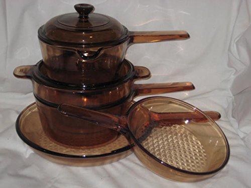 7 Piece Set - Vintage Corning Visions Visionware Amber Glass Sauce 1 Liter 15 Liter Pans 7 9 12 Inch Skillets Double Boiler Set w 2 Lids