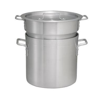 Winco ALDB-16 Double Boiler Set 16 Qt W Cover Even Heat Distribution Aluminum --ALDB-16
