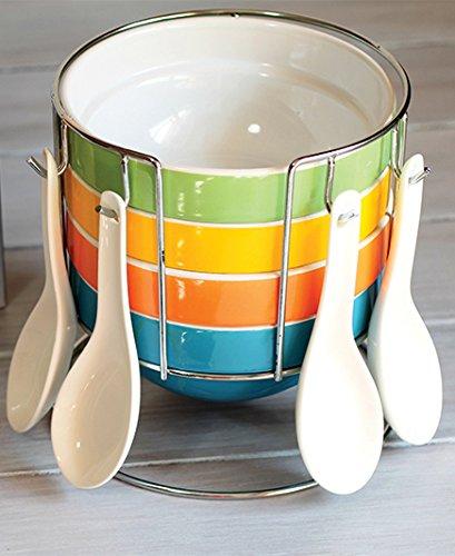 Stackable Bowls Appetizer Serving Set With 4 Large Soup,oatmeal,dinner & Dessert Serving Bowls,4 Spoons & Metal