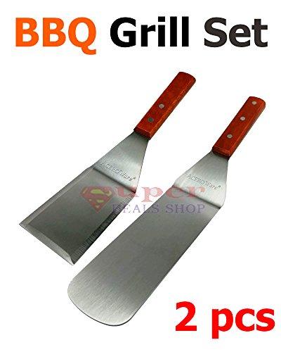 2 pc BBQ Grill Set BBQ Grill Turner Scraper Spatula Grill Tool Grill Spatula BBQ Grill Spatula for BBQ Grill Teppanyaki Griddle Camping Pancake Turner Super-Deals-Shop