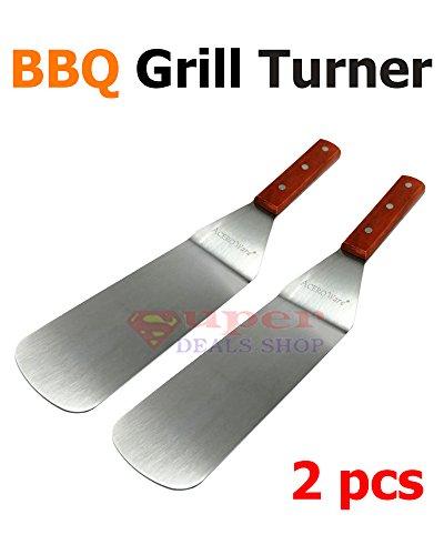 2 pc BBQ Grill Turner Scraper Spatula Grill Tool Grill Spatula BBQ Grill Spatula for BBQ Grill Teppanyaki Griddle Camping Pancake Turner Super-Deals-Shop