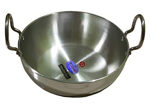 Shradha Trading Aluminium Kadai Aluminum Indian KadaiIndian Kadai Cookware pan Indian Stir Pan Frying Pan Size-12 Thickness 4 mm