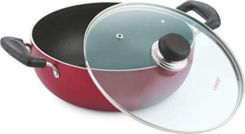 Vinod Cookware Zest Non-Stick Induction Friendly Deep Kadai With Lid RedBlack 26 Litres