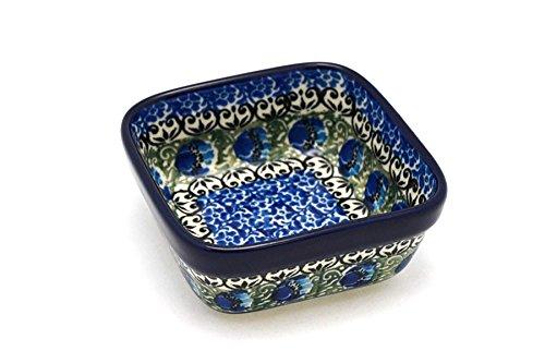 Polish Pottery Ramekin - Square - Peacock Feather