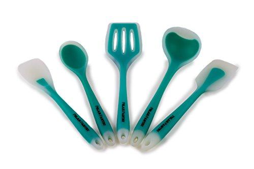 Polar Pantry Silicone Spatula Set - 5 Piece Kitchen Utensil Set - Slotted Spatula Turner, Spoon Spatula, Scraper