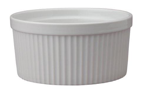 HIC Souffle Fine White Porcelain 6-Inch 32-Ounce 1-Quart Capacity