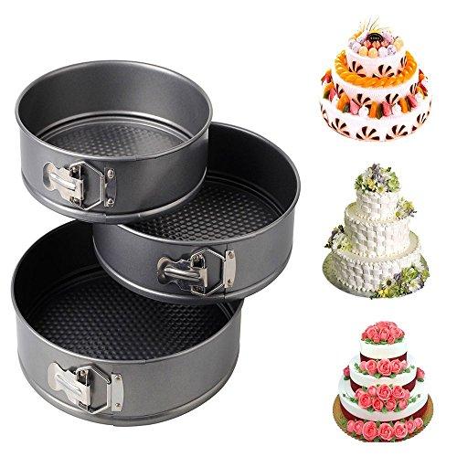 KINGZHUO 3 Pcs 7 8 9 Round Leakproof Cake Bake Pan Carbon Steel Nonstick Springform Pan Cheesecake Pan Loose Base Bakeware