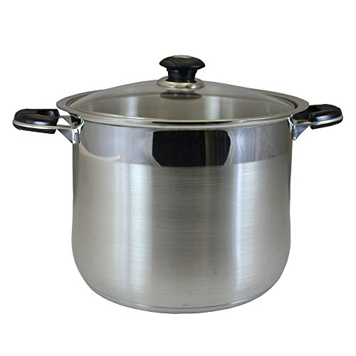 Thaweesuk Shop 30 QT Stainless Steel Stock Pot Cookware Tri-Ply Bottom Dutch Oven 148 Wide x 12 Height of Set