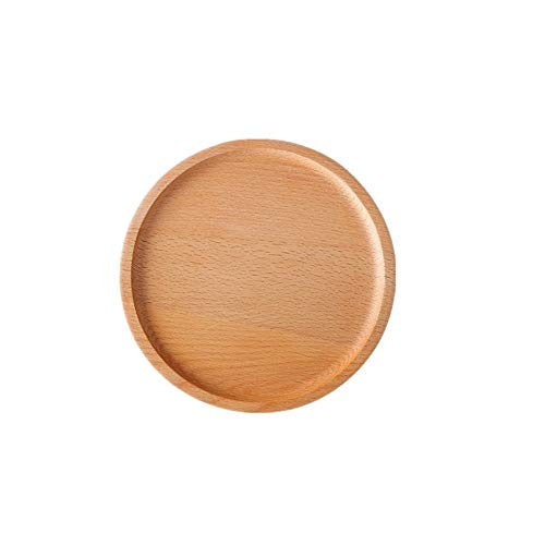 Household Wooden Fast Food TrayWater Cup TrayCoffee TrayFruitCake Serving TraySquare Round Rabbit Tray-Set of 2 Round 4