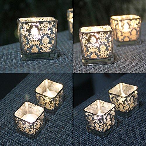 Simple European-style light gold square glass small candlestick decoration ornaments 3 PCS Tea lightsimple european-style plating glass cup