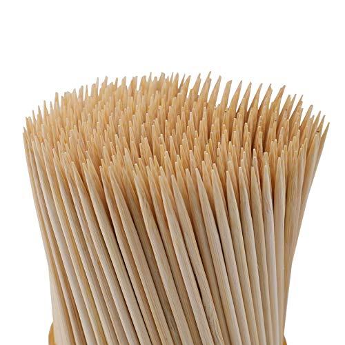 Fasmov 1000 Pack Bamboo BBQ Appetizer Shish Kebab Skewers Natural Semi Point Bamboo Sticks 8-Inches