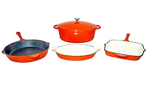 Le Chef 5 Piece Enamel Cast Iron Orange Cookware Set