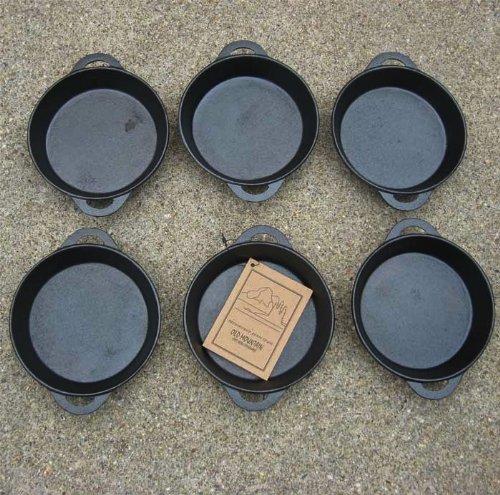 Old Mountain Round Single Serve Cast Iron Cookware - Preseasoned Set of 6
