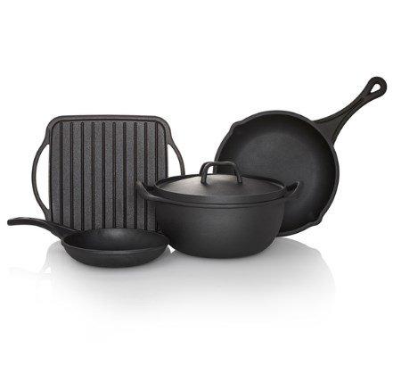 Sabatier Black Cast Iron Preseasoned Rust Resistant Cookware 5 Piece Set Durable Indoor Outdoor 5192254