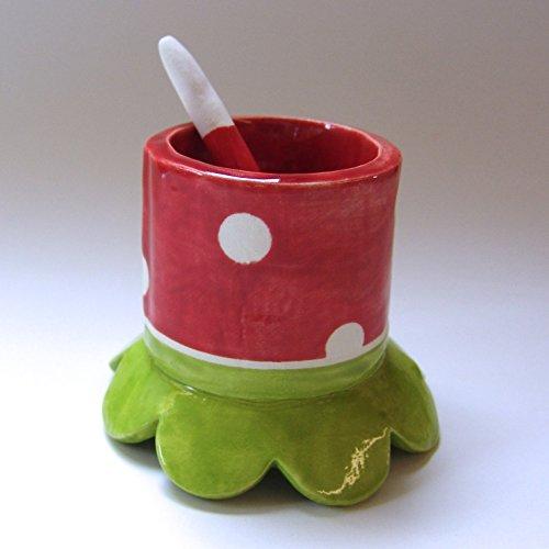 cute Salt dish or Sugar bowl w ceramic spoon