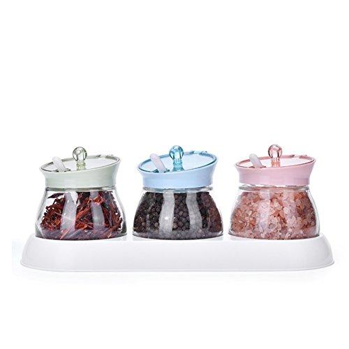 Glass cruetSeasoning jars Seasonning box Salt shaker Kitchen family combo set-A