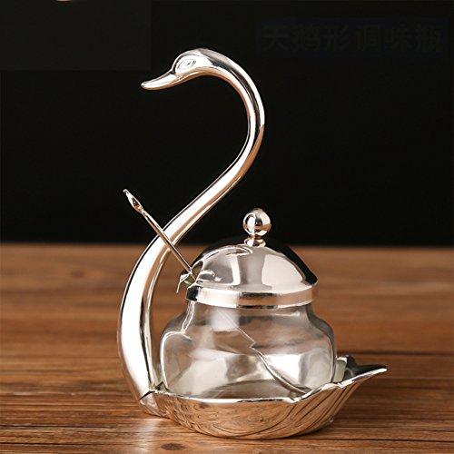 Single seasoning jarSugar bowl Loading salt shaker Kitchen supplies Glass spice boxes Household seasoning bottle Creative cruet
