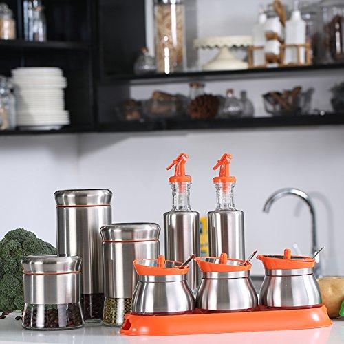 Stainless steel condiment bottle Kit European spice boxes glass salt shaker kitchen supplies-C