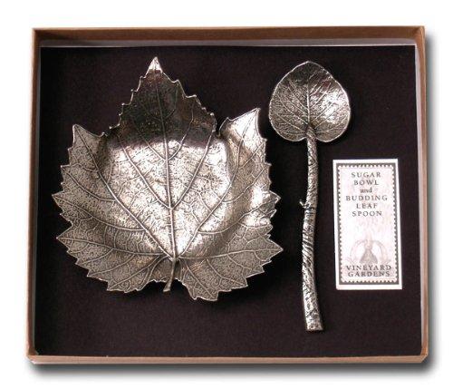 Clay Company Pewter Sugar Bowl Budding Leaf Spoon Set