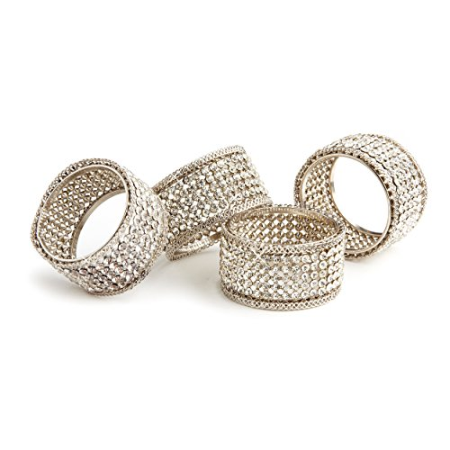 Elegance Silver Napkin Rings with Crystals Set of 4