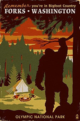 Forks Washington - Home of Bigfoot 9x12 Fine Art Print Home Wall Decor Artwork Poster