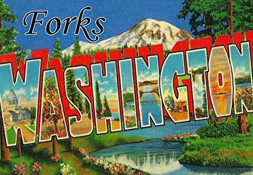 Forks Washington - Large Letter Scenes 7929 24x36 SIGNED Print Master Art Print - Wall Decor Poster